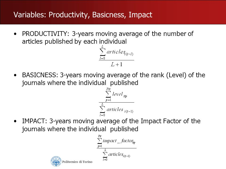 Variables: Productivity, Basicness, Impact