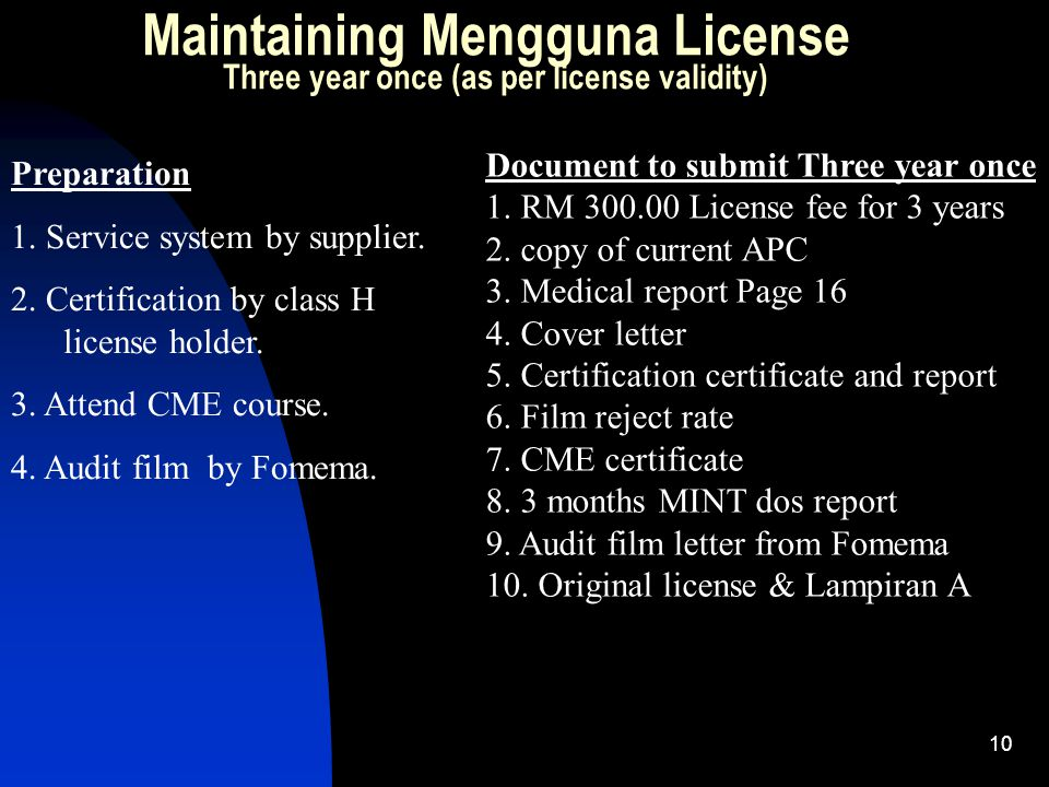 Maintaining Mengguna License Three year once (as per license validity)