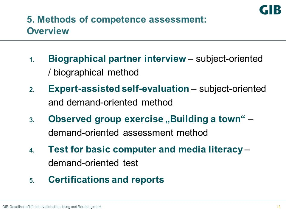 5. Methods of competence assessment: Overview