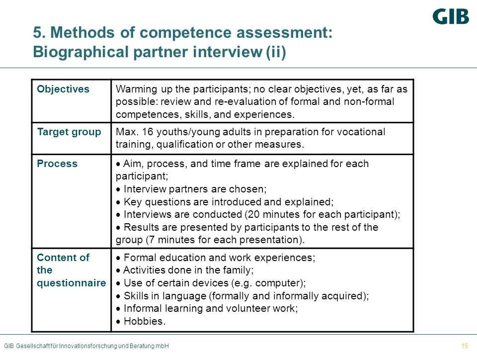 5. Methods of competence assessment: Biographical partner interview (ii)