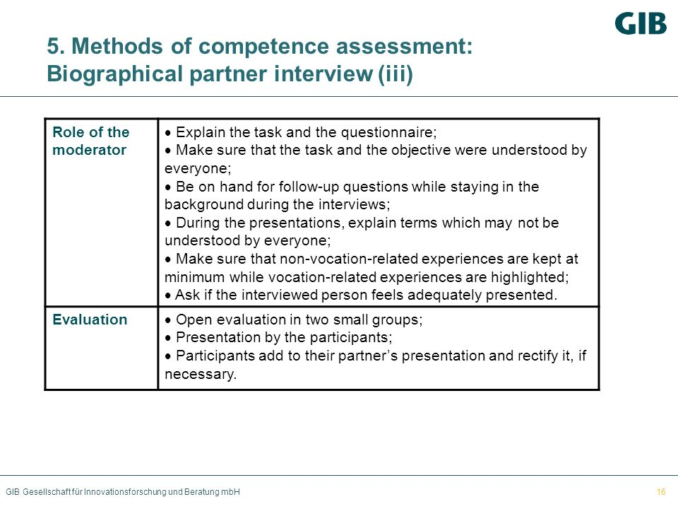 5. Methods of competence assessment: Biographical partner interview (iii)