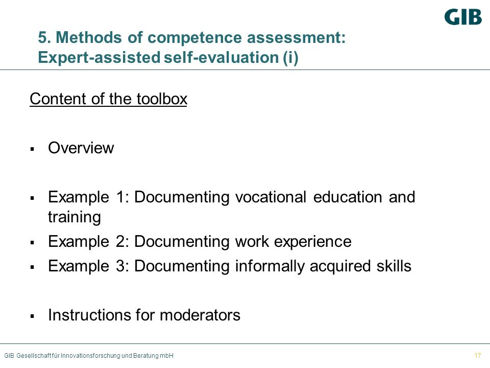 Example 1: Documenting vocational education and training