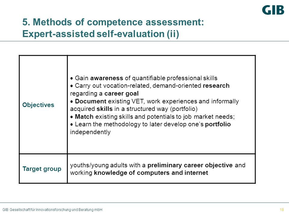 5. Methods of competence assessment: Expert-assisted self-evaluation (ii)
