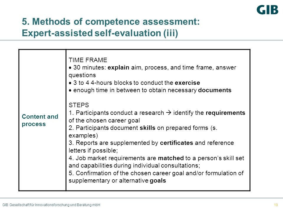 5. Methods of competence assessment: Expert-assisted self-evaluation (iii)