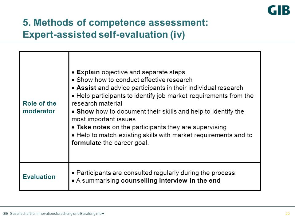 5. Methods of competence assessment: Expert-assisted self-evaluation (iv)