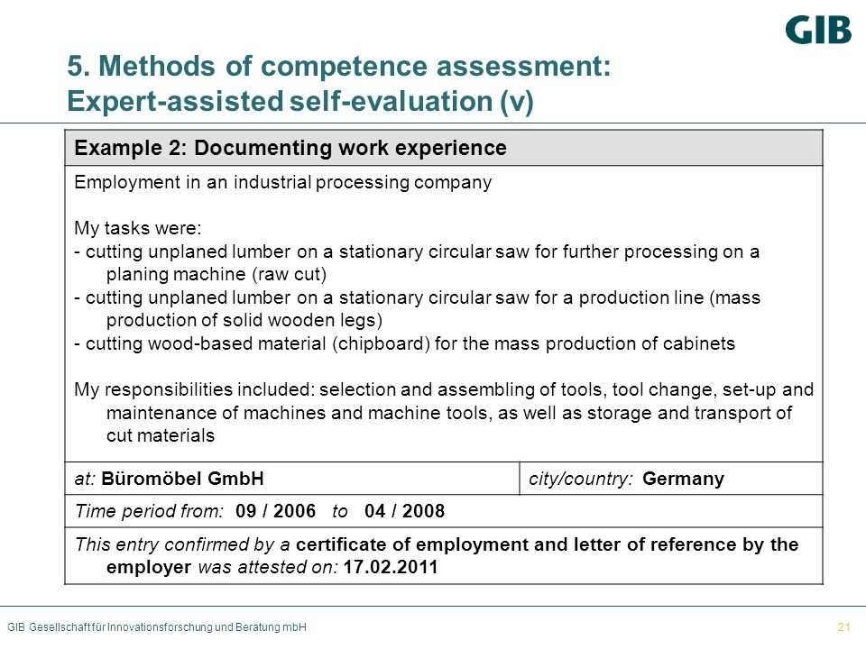 5. Methods of competence assessment: Expert-assisted self-evaluation (v)