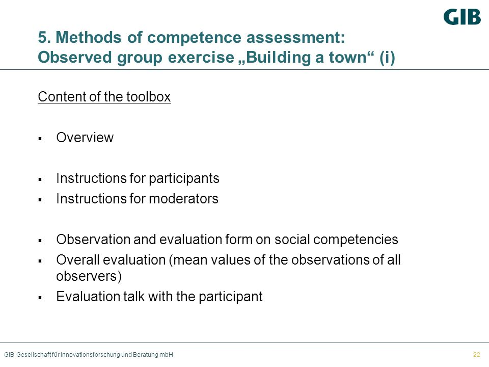 "5. Methods of competence assessment: Observed group exercise ""Building a town (i)"
