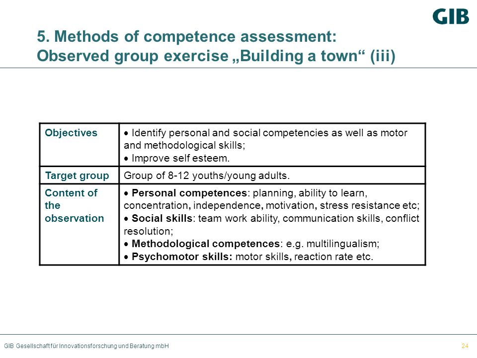 "5. Methods of competence assessment: Observed group exercise ""Building a town (iii)"