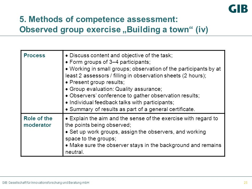 "5. Methods of competence assessment: Observed group exercise ""Building a town (iv)"