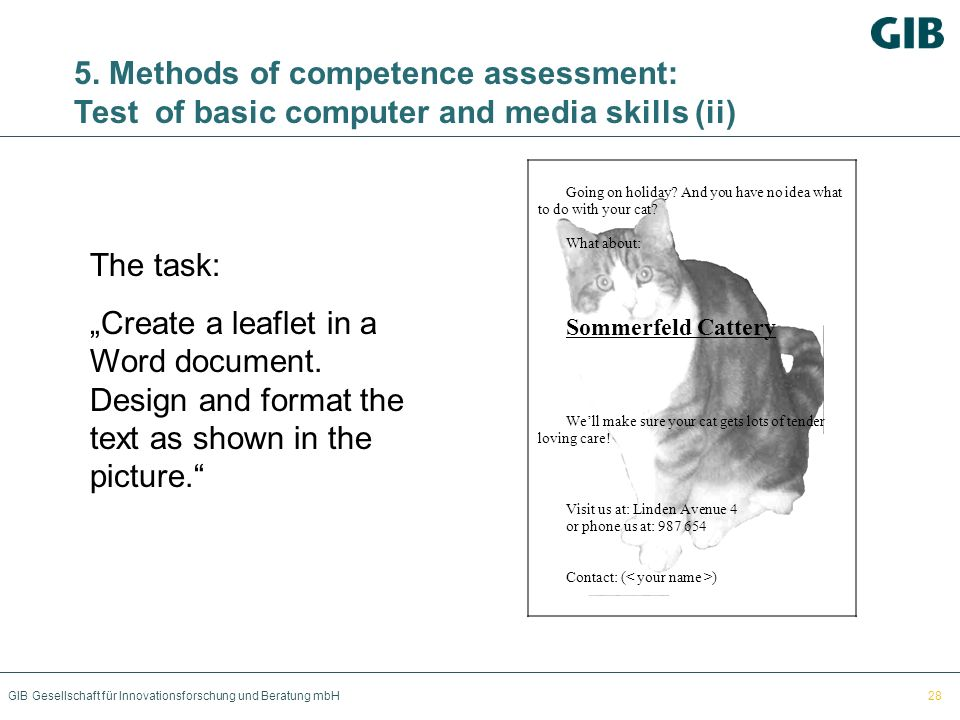 5. Methods of competence assessment: Test of basic computer and media skills (ii)
