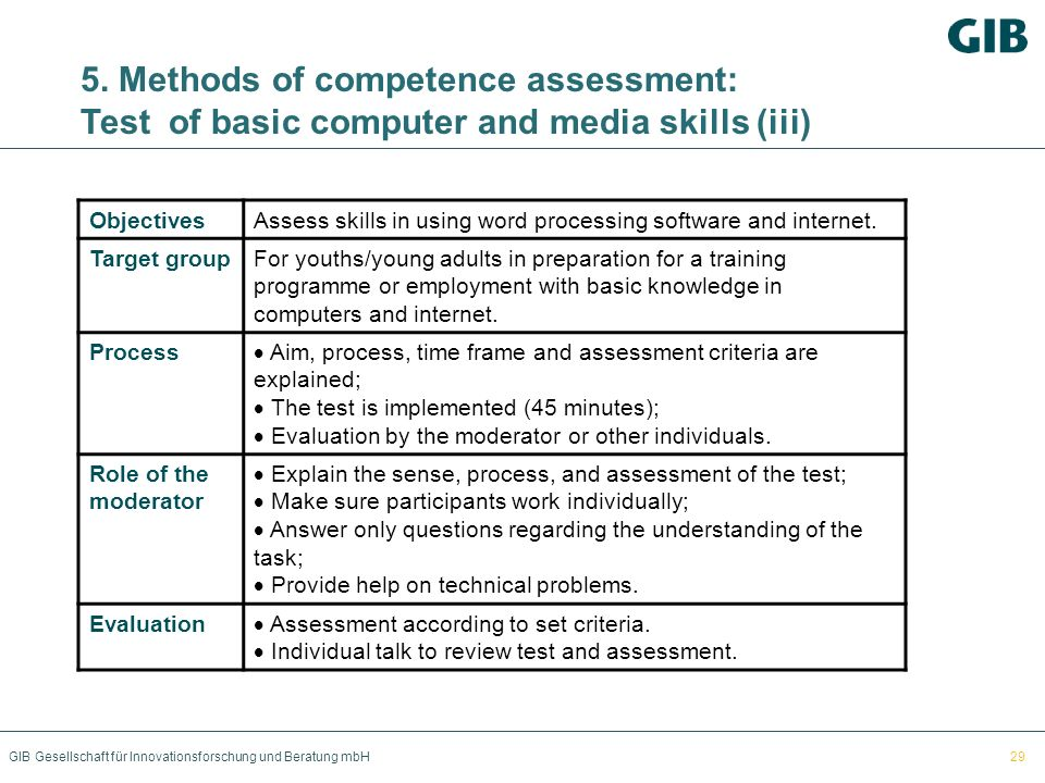 5. Methods of competence assessment: Test of basic computer and media skills (iii)