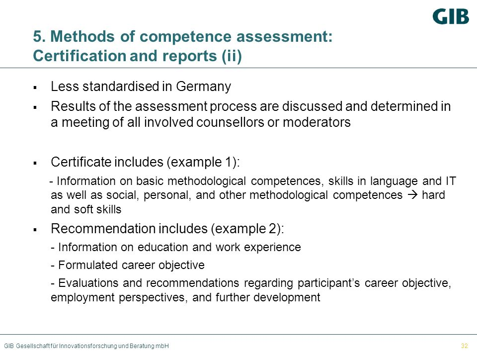 5. Methods of competence assessment: Certification and reports (ii)