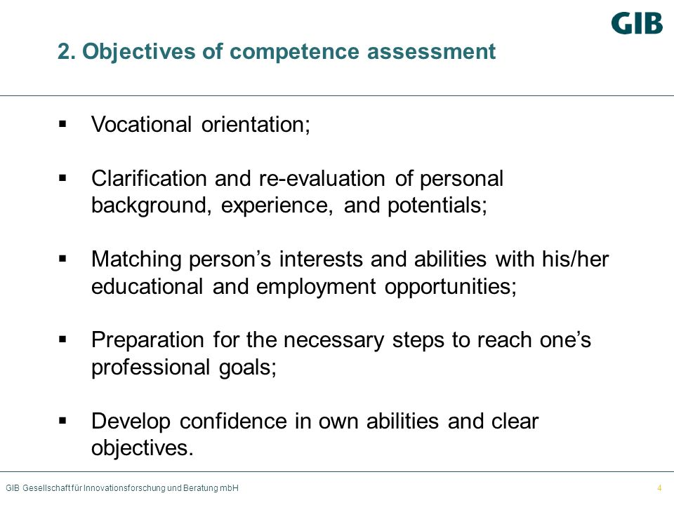 2. Objectives of competence assessment