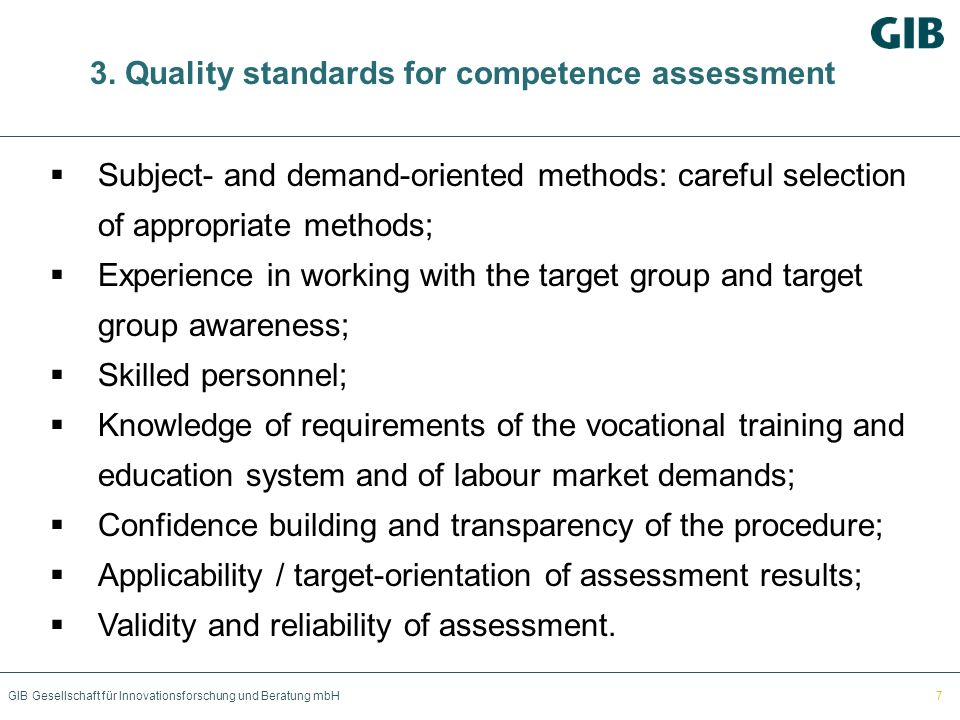 3. Quality standards for competence assessment