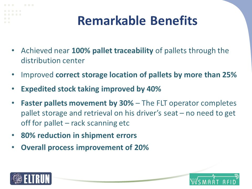 Remarkable Benefits Achieved near 100% pallet traceability of pallets through the distribution center.