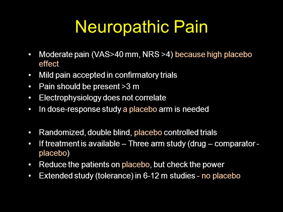 Neuropathic Pain Moderate pain (VAS>40 mm, NRS >4) because high placebo effect. Mild pain accepted in confirmatory trials.