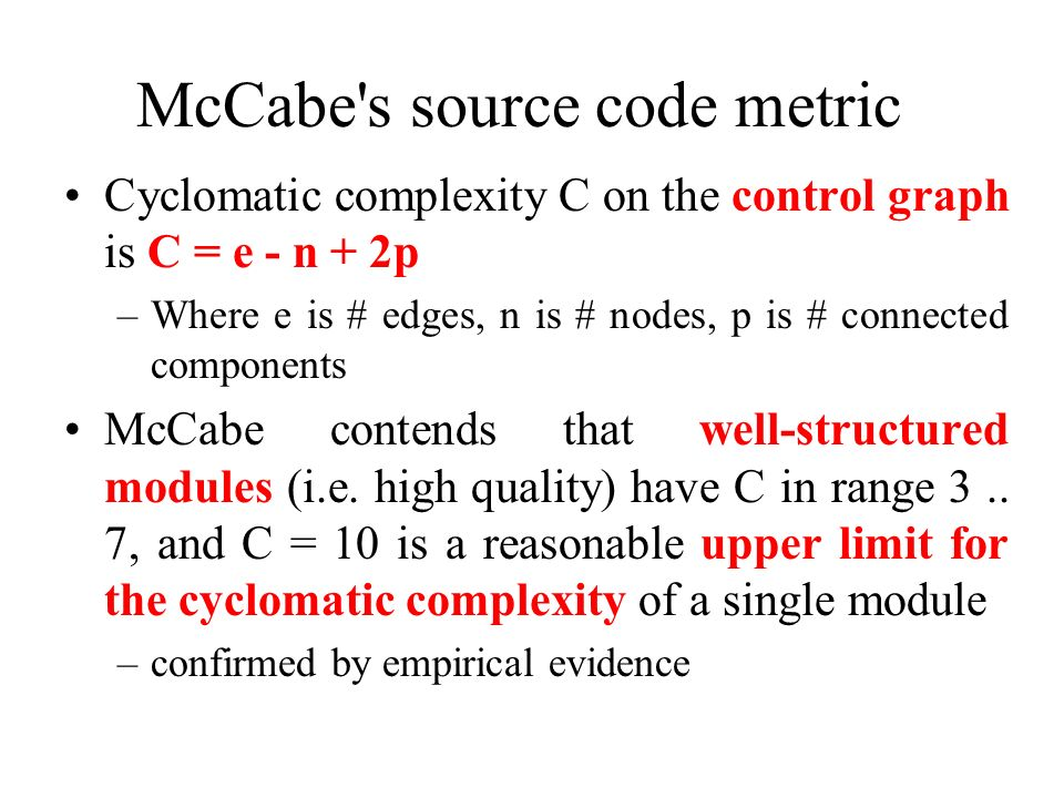 McCabe s source code metric