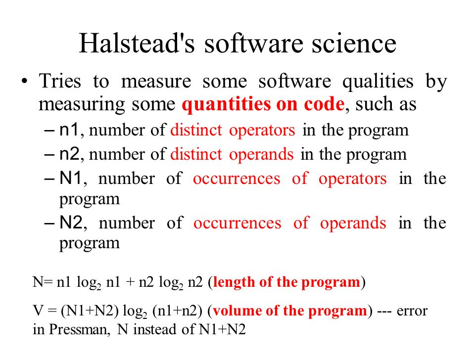 Halstead s software science