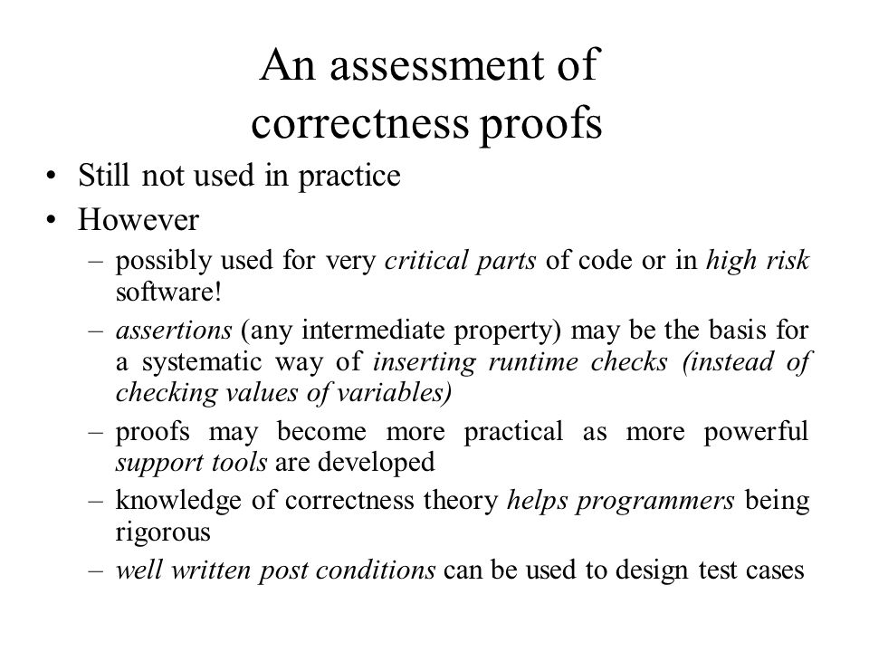 An assessment of correctness proofs