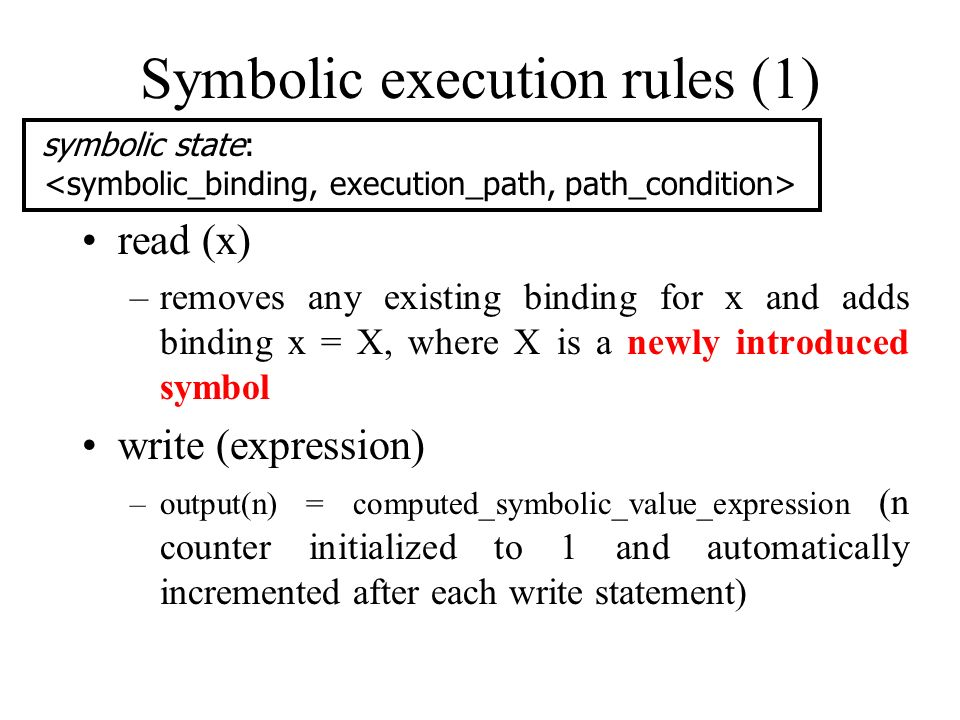 Symbolic execution rules (1)