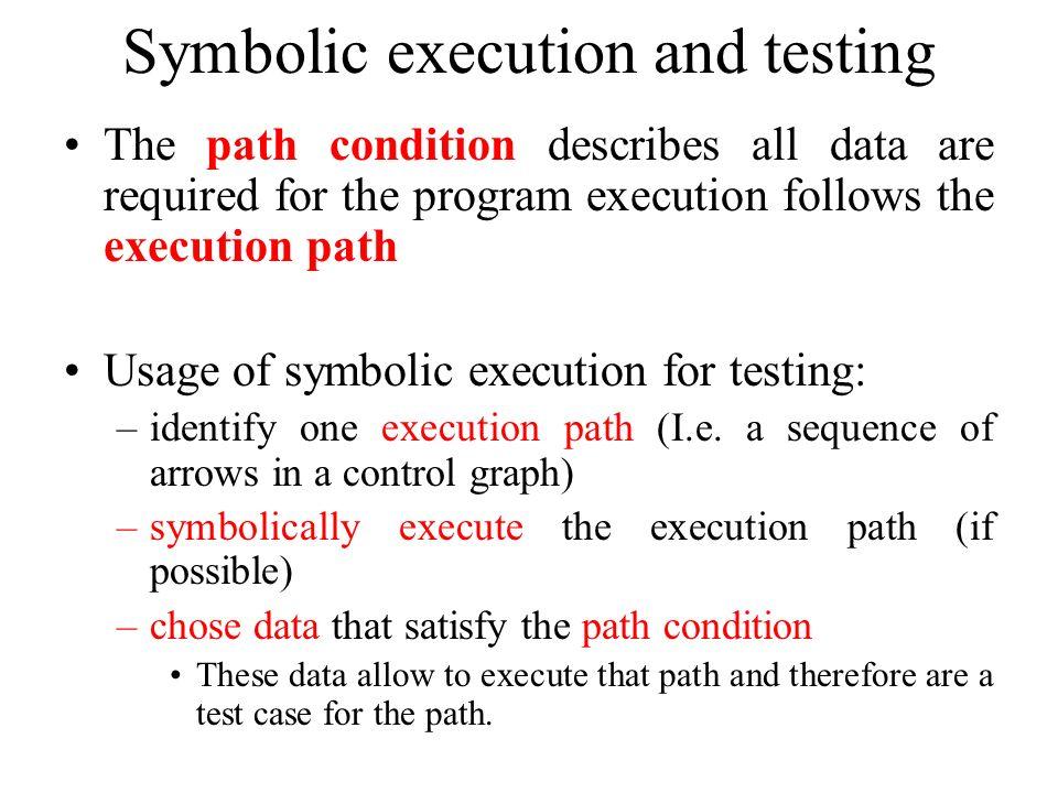 Symbolic execution and testing