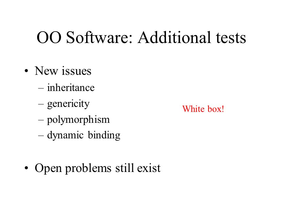 OO Software: Additional tests