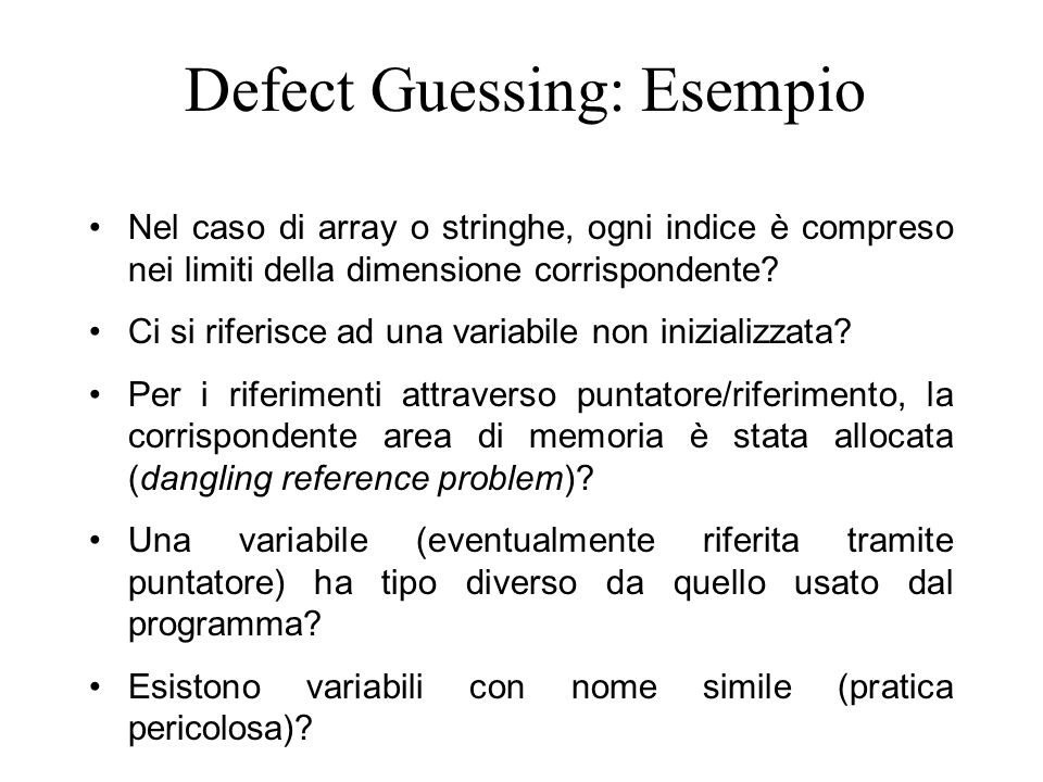 Defect Guessing: Esempio