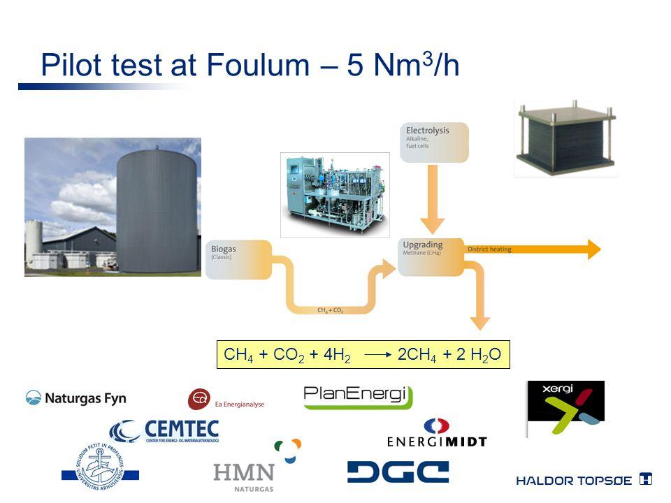 Pilot test at Foulum – 5 Nm3/h