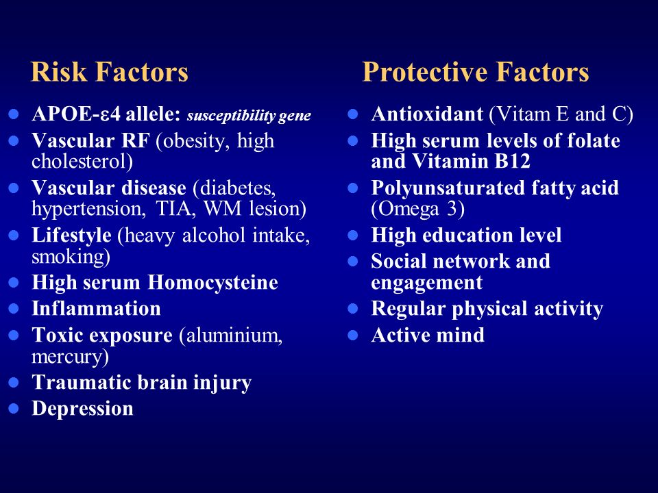 Risk Factors Protective Factors APOE-4 allele: susceptibility gene