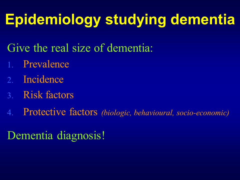 Epidemiology studying dementia