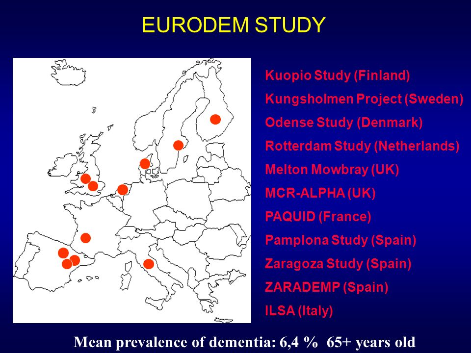 EURODEM STUDY Mean prevalence of dementia: 6,4 % 65+ years old
