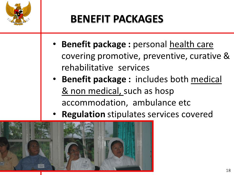 BENEFIT PACKAGES Benefit package : personal health care covering promotive, preventive, curative & rehabilitative services.