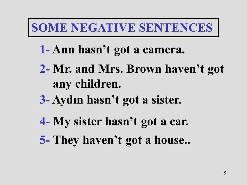 SOME NEGATIVE SENTENCES