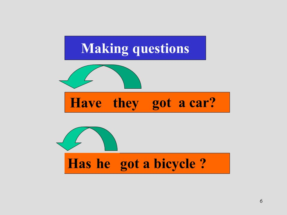 Making questions They have got a car Have they He has got a bicycle Has he