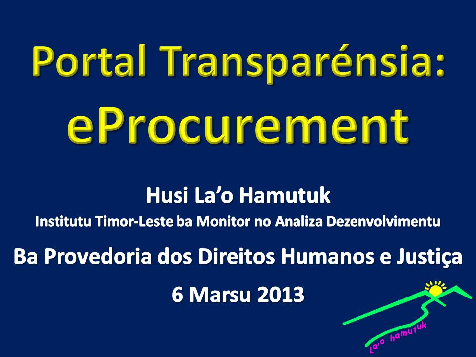 Portal Transparénsia: eProcurement