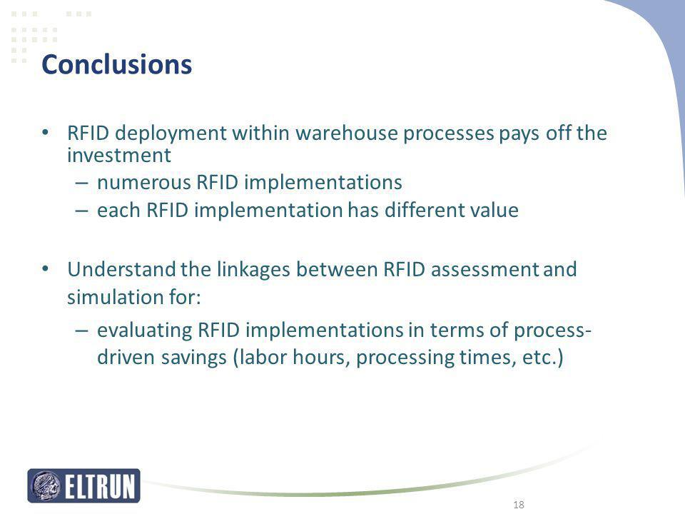 Conclusions RFID deployment within warehouse processes pays off the investment. numerous RFID implementations.