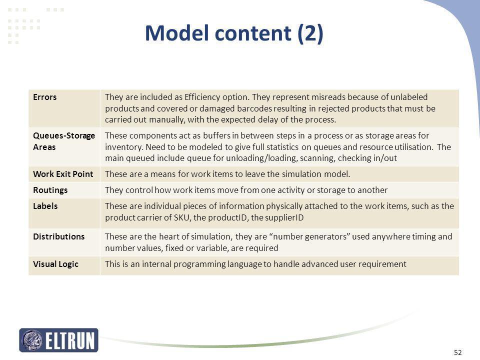 Model content (2) Errors