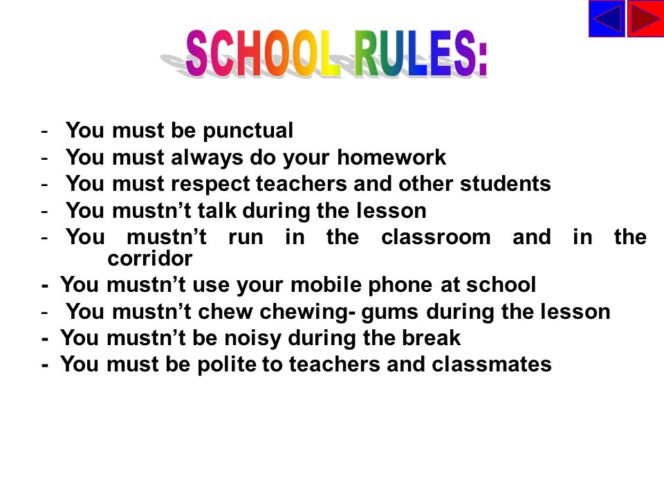 SCHOOL RULES: You must be punctual You must always do your homework