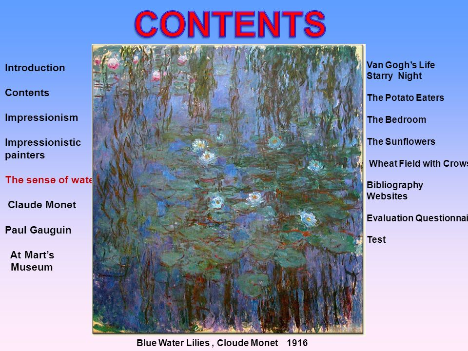 CONTENTS Introduction Contents Impressionism Impressionistic painters