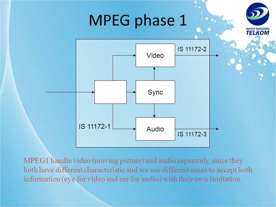 MPEG phase 1 IS 11172-1. Video. Audio. Sync. IS 11172-2. IS 11172-3.