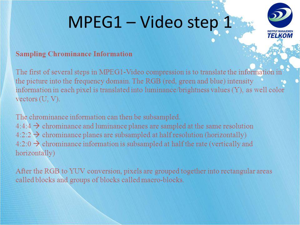 MPEG1 – Video step 1 Sampling Chrominance Information