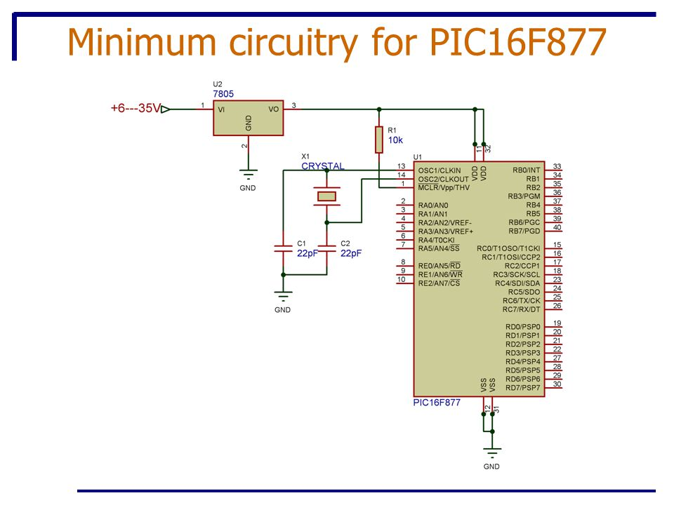 Minimum circuitry for PIC16F877