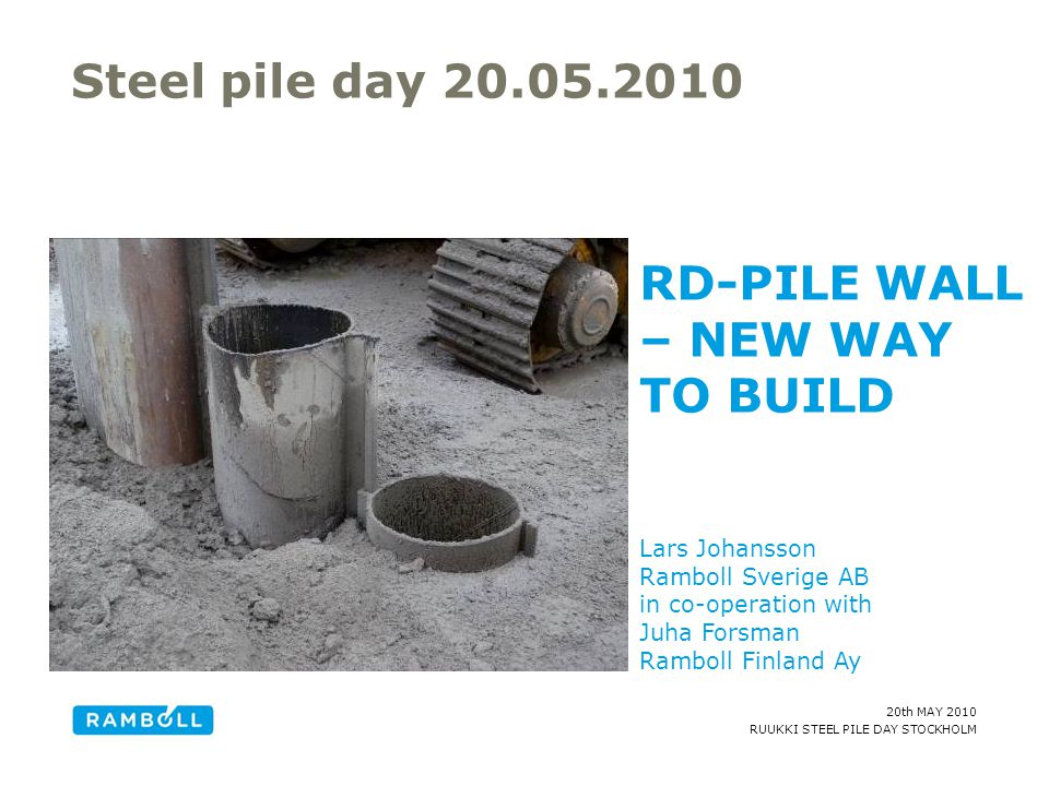 RD-PILE WALL – NEW WAY TO BUILD