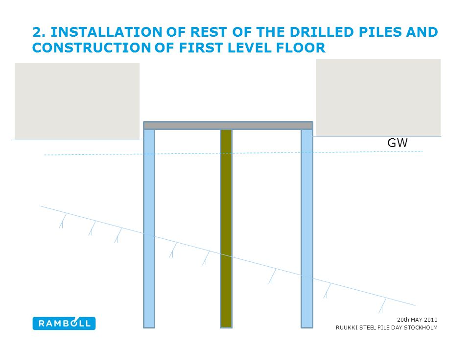 2. INSTALLATION OF REST OF THE DRILLED PILES AND CONSTRUCTION OF FIRST LEVEL FLOOR