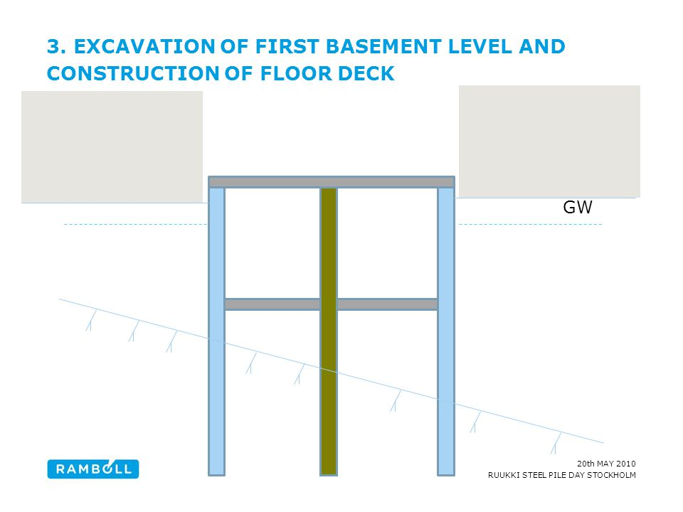 3. EXCAVATION OF FIRST BASEMENT LEVEL AND CONSTRUCTION OF FLOOR DECK