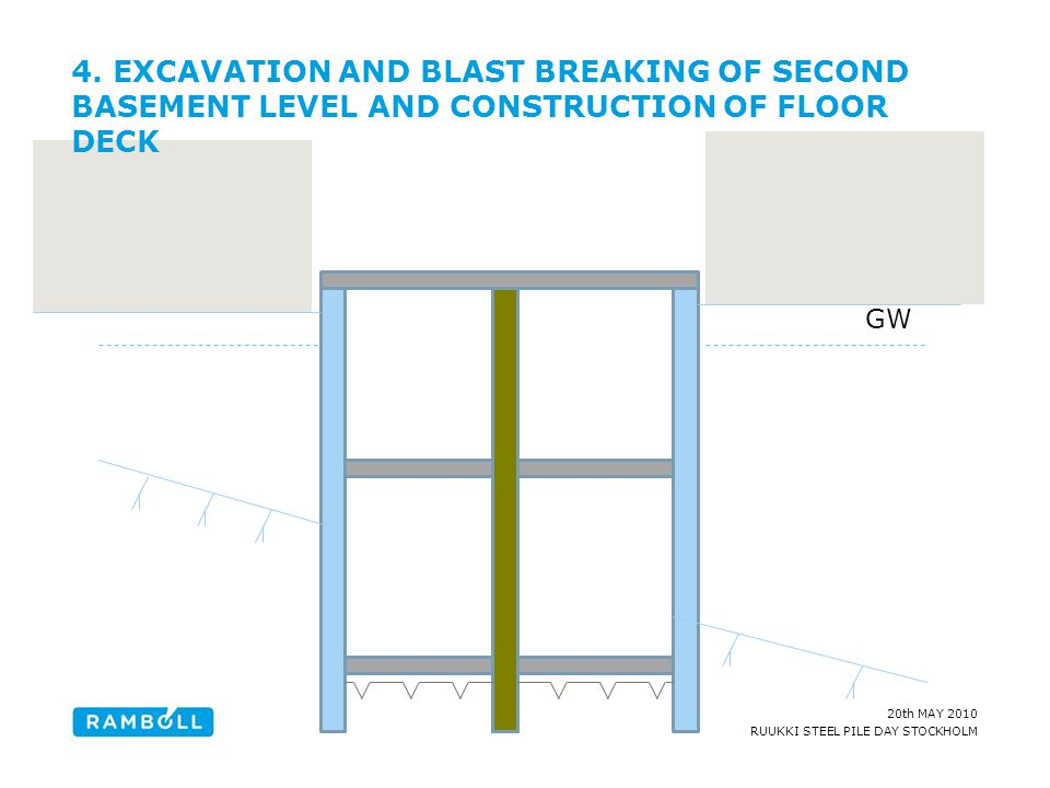 4. EXCAVATION AND BLAST BREAKING OF SECOND BASEMENT LEVEL AND CONSTRUCTION OF FLOOR DECK
