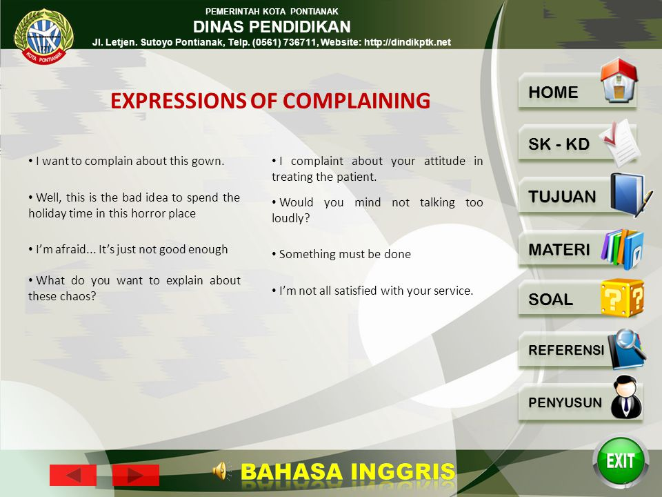 EXPRESSIONS OF COMPLAINING