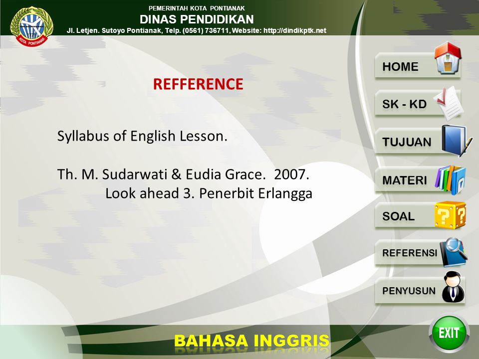REFFERENCE Syllabus of English Lesson.