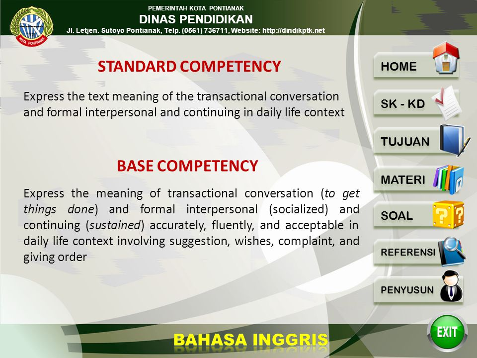 STANDARD COMPETENCY BASE COMPETENCY