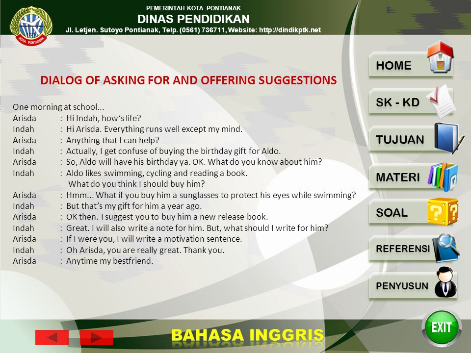 DIALOG OF ASKING FOR AND OFFERING SUGGESTIONS